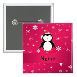Personalized name penguin pink snowflakes 2 inch square button
