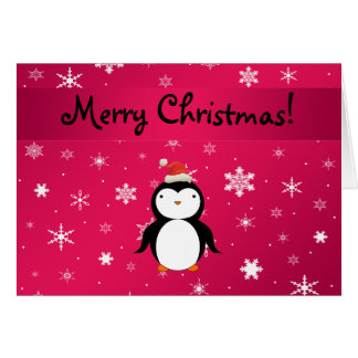 Personalized name penguin pink snowflakes card
