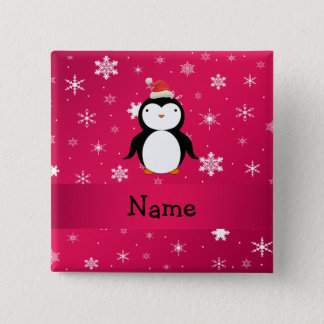 Personalized name penguin pink snowflakes pinback button