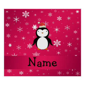 Personalized name penguin pink snowflakes poster