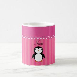 Personalized name penguin pink stripes coffee mug