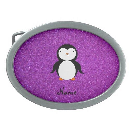 Personalized name penguin purple glitter oval belt buckle