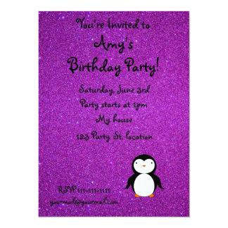 Personalized name penguin purple glitter announcement