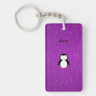 Personalized name penguin purple glitter keychain