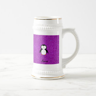 Personalized name penguin purple glitter 18 oz beer stein