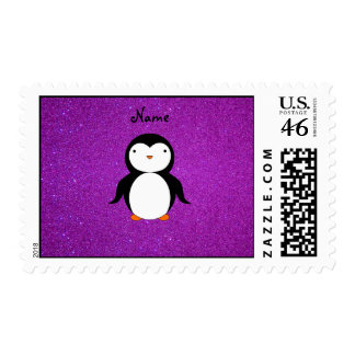 Personalized name penguin purple glitter postage stamp