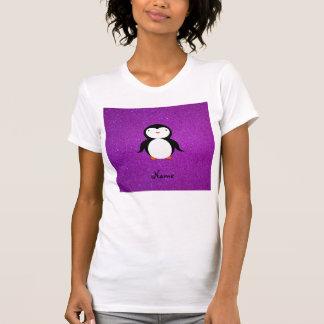Personalized name penguin purple glitter t-shirt