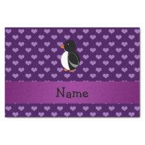 Personalized name penguin purple hearts tissue paper