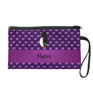 Personalized name penguin purple hearts wristlet purse