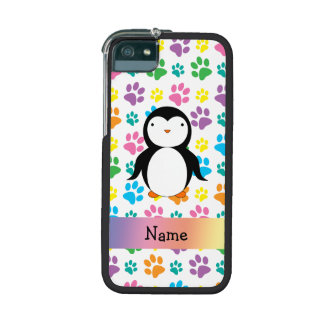 Personalized name penguin rainbow paws iPhone 5/5S covers