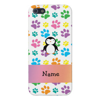 Personalized name penguin rainbow paws iPhone 5 case