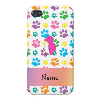 Personalized name penguin rainbow paws iPhone 4 cover
