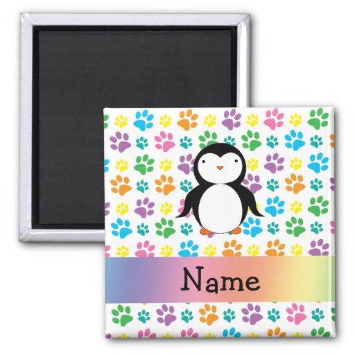 Personalized name penguin rainbow paws magnet