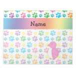 Personalized name penguin rainbow paws note pad
