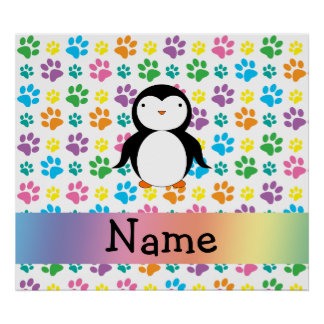 Personalized name penguin rainbow paws posters