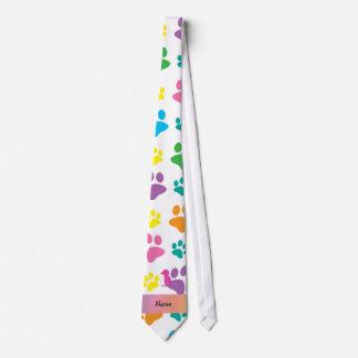 Personalized name penguin rainbow paws tie