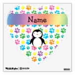 Personalized name penguin rainbow paws wall decal