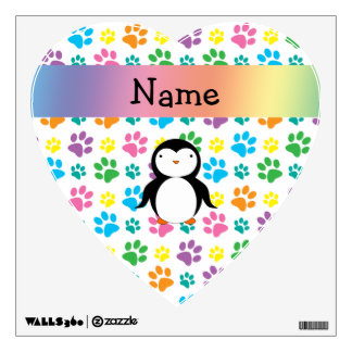 Personalized name penguin rainbow paws wall graphics