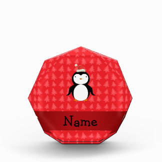 Personalized name penguin red christmas trees award