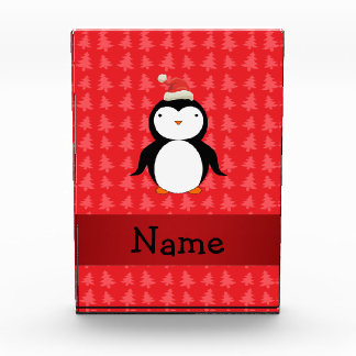 Personalized name penguin red christmas trees awards