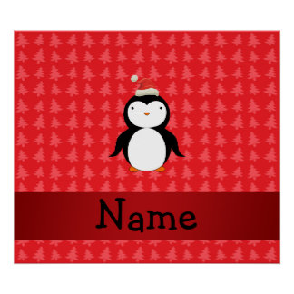 Personalized name penguin red christmas trees print