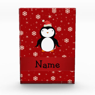 Personalized name penguin red snowflakes award