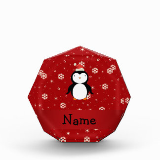 Personalized name penguin red snowflakes awards