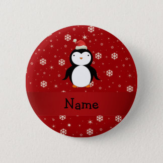 Personalized name penguin red snowflakes button