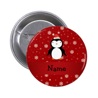Personalized name penguin red snowflakes buttons