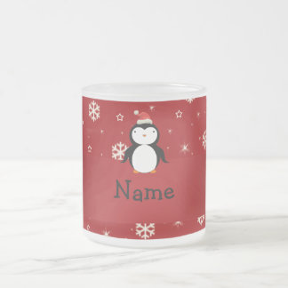 Personalized name penguin red snowflakes mugs