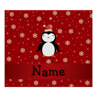 Personalized name penguin red snowflakes posters
