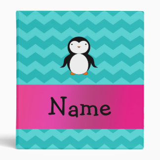 Personalized name penguin turquoise chevrons 3 ring binder