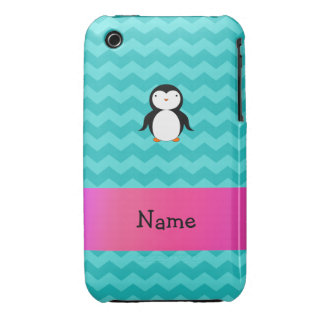 Personalized name penguin turquoise chevrons iPhone 3 cases