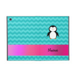 Personalized name penguin turquoise chevrons cases for iPad mini