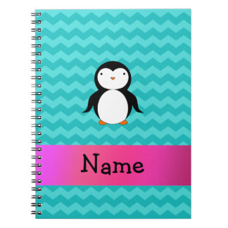 Personalized name penguin turquoise chevrons notebook