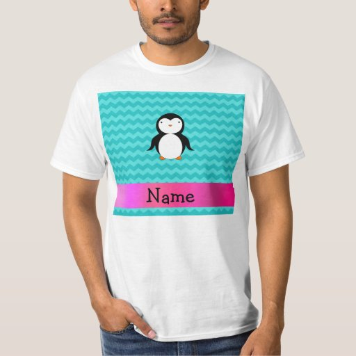 Personalized name penguin turquoise chevrons tee shirt