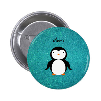 Personalized name penguin turquoise glitter pin
