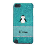 Personalized name penguin turquoise glitter iPod touch (5th generation) cases