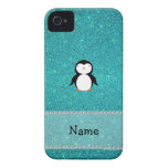 Personalized name penguin turquoise glitter iPhone 4 case