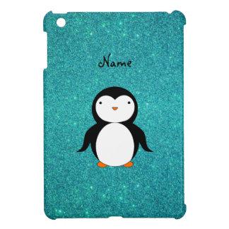 Personalized name penguin turquoise glitter case for the iPad mini