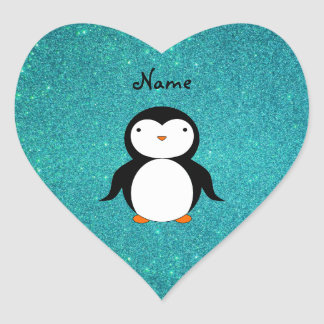 Personalized name penguin turquoise glitter heart sticker