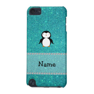 Personalized name penguin turquoise glitter iPod touch 5G case