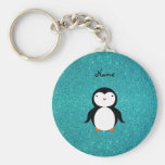Personalized name penguin turquoise glitter keychain