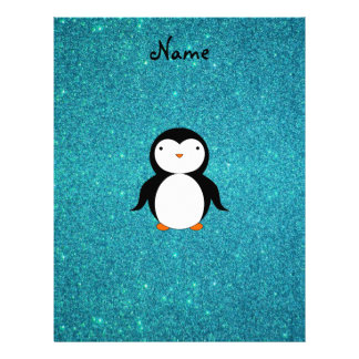 Personalized name penguin turquoise glitter letterhead