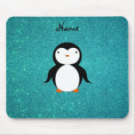 Personalized name penguin turquoise glitter mouse pad