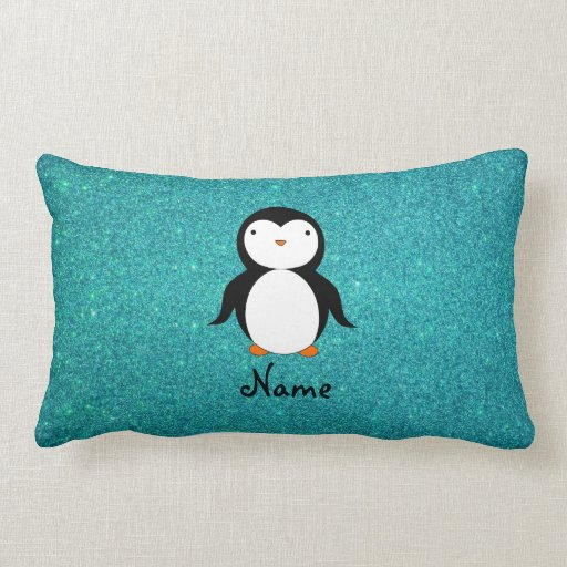 Personalized name penguin turquoise glitter pillows