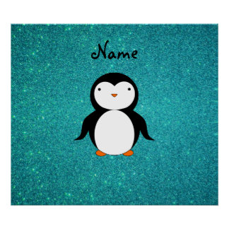 Personalized name penguin turquoise glitter posters