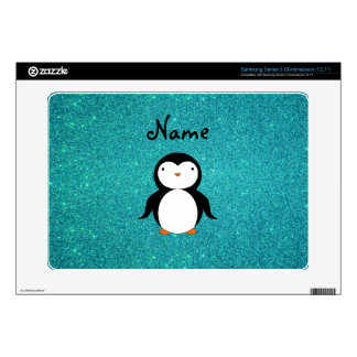 Personalized name penguin turquoise glitter samsung chromebook skins
