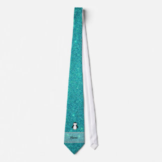 Personalized name penguin turquoise glitter tie