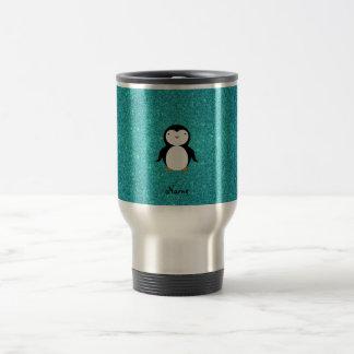 Personalized name penguin turquoise glitter travel mug